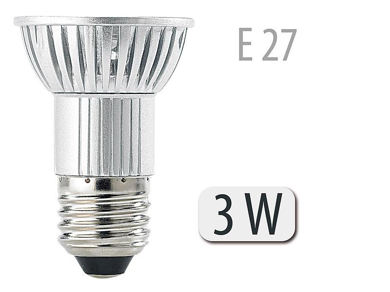 luminea spotlicht led spot 3x 1w led warmwei e27 210 lm strahler led. Black Bedroom Furniture Sets. Home Design Ideas