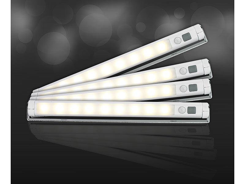 lunartec led lichtleiste batterie 4er set led lichtleisten mit pir bewegungssensor 9 smd leds. Black Bedroom Furniture Sets. Home Design Ideas