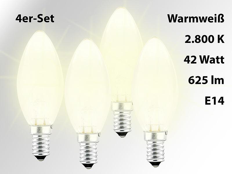 luminea halogen kerzenlampe e14 halogen kerze e14 42. Black Bedroom Furniture Sets. Home Design Ideas