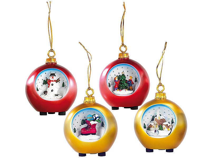 infactory Weihnacht-Deko-Kugel: Motiv-Weihnachtskugeln mit LED ...