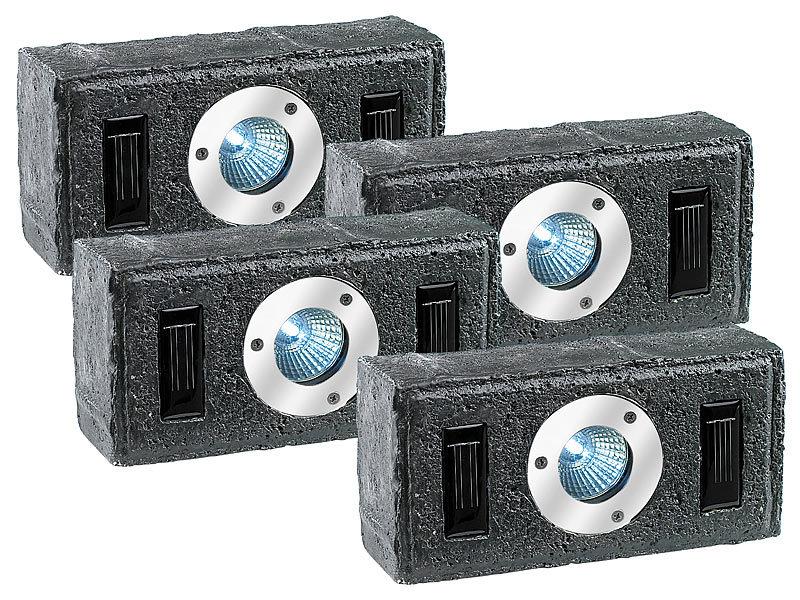 Pflastersteine Beleuchtung Solar   Lunartec 4er Set Solar Pflasterstein Mit Led Strahler Dammerungs