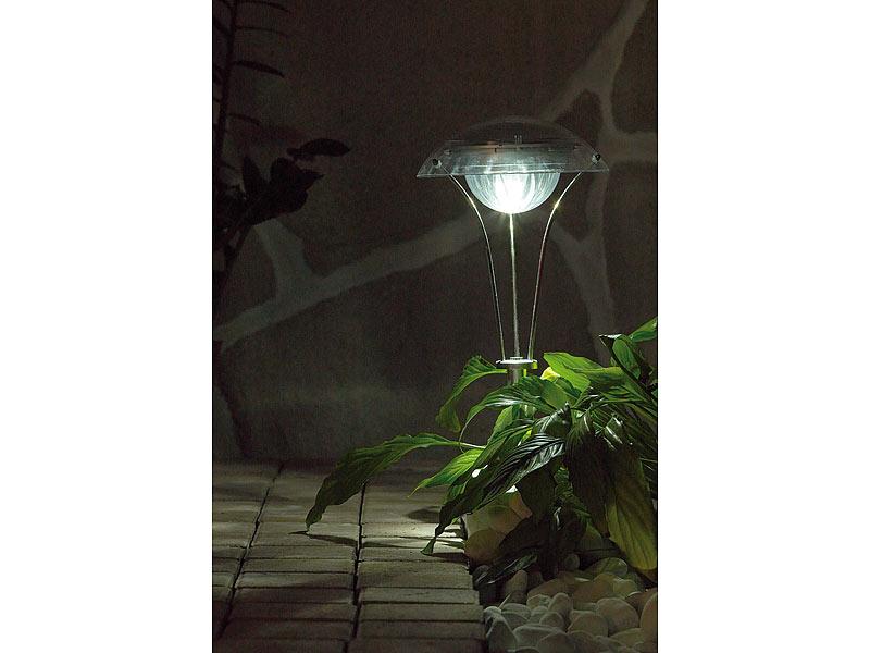 lunartec led solar gartenlampen chrom wegeleuchte. Black Bedroom Furniture Sets. Home Design Ideas