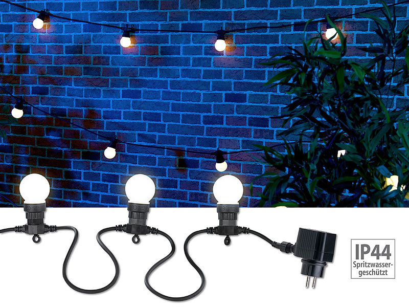lunartec partybeleuchtung party lichterkette 20 wei e leds in gl hbirnenform 8 w 13 m ip44. Black Bedroom Furniture Sets. Home Design Ideas