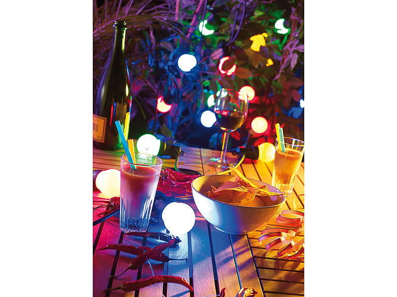 lunartec party lichterkette 13 m bunte leds gl hbirnenform ip44 refurb. Black Bedroom Furniture Sets. Home Design Ideas