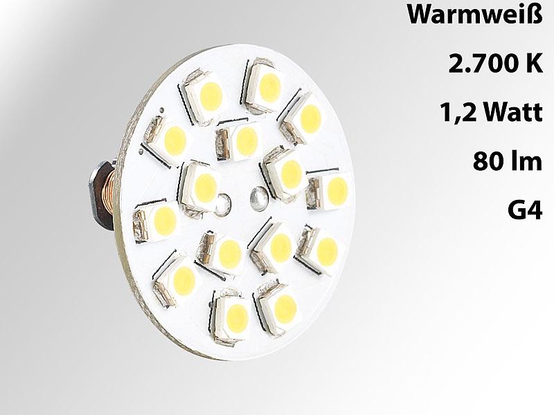 Luminea LED-Leuchten, warmweiss: LED-Stiftsockellampe G4 (12V), 15 ...