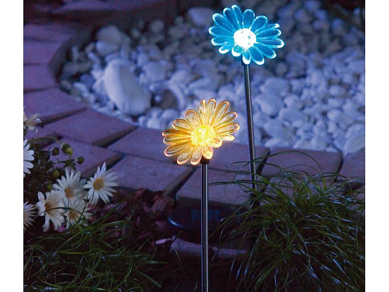 Lunartec solar led gartendeko sonnenblume 4er set for Gartendeko solar