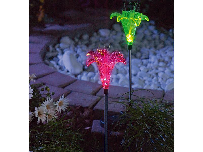 Lunartec solar led gartendeko lilie 2er set for Gartendeko solar figuren