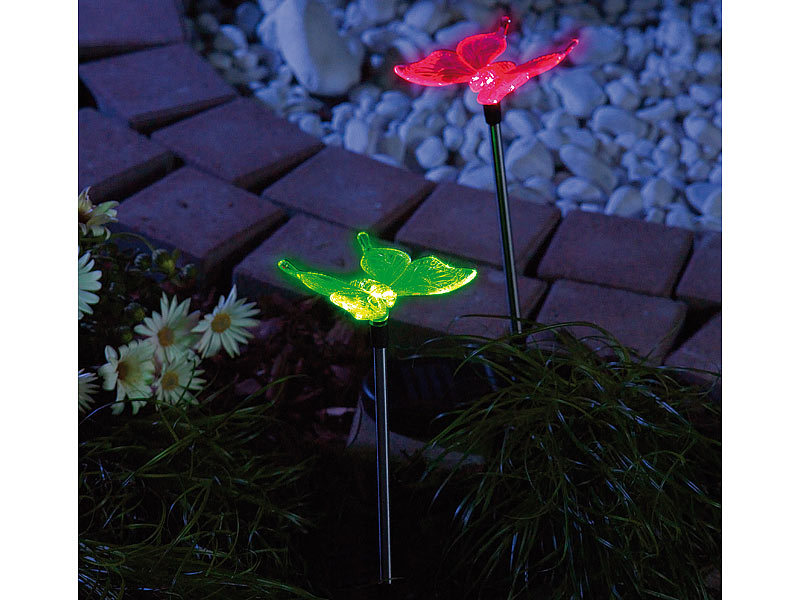 Lunartec solar led gartendeko schmetterling 4er set for Gartendeko solar