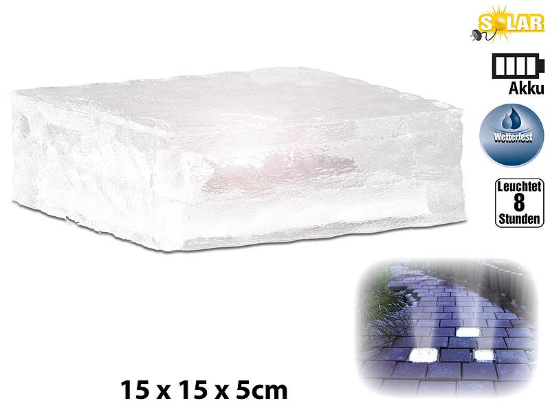 lunartec leuchtende steine solar led glasbaustein mit lichtsensor l 15x15x5cm led solar. Black Bedroom Furniture Sets. Home Design Ideas