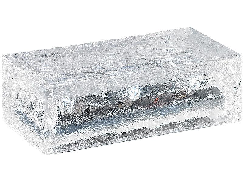 lunartec led pflastersteine 4er set solar glasbausteine mit led lichtsensor 19 5 x 9 8 x 6. Black Bedroom Furniture Sets. Home Design Ideas