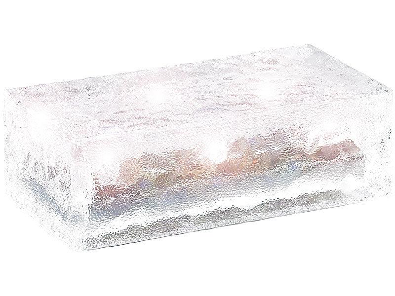 lunartec solar glasbausteine mit led lichtsensor 19 5 x 9 8 x 6 cm. Black Bedroom Furniture Sets. Home Design Ideas