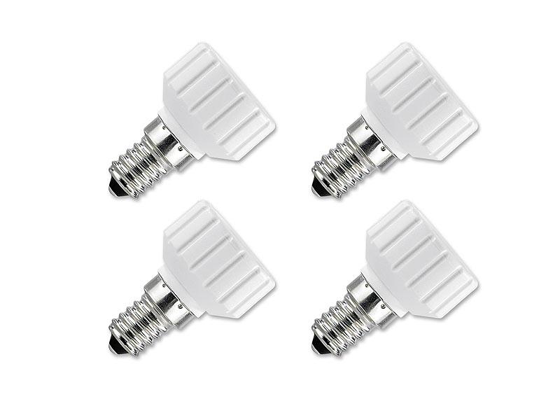 lunartec led adapter lampensockel adapter adapter e14 auf gu10 4er set adapter f r led lampen. Black Bedroom Furniture Sets. Home Design Ideas