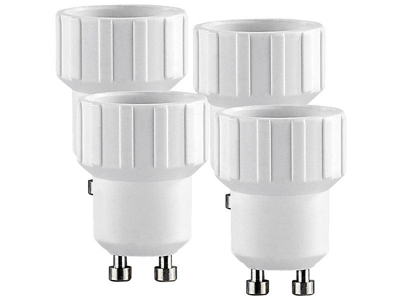 lunartec leuchtmittel adapter lampensockel adapter adapter gu10 auf e14 4er set led spot. Black Bedroom Furniture Sets. Home Design Ideas