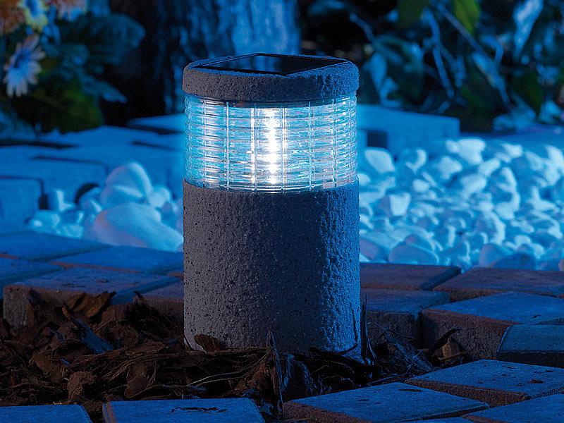 lunartec led gartenlichter mini solar led gartenleuchte grey stone mit lichtsensor 4er set. Black Bedroom Furniture Sets. Home Design Ideas