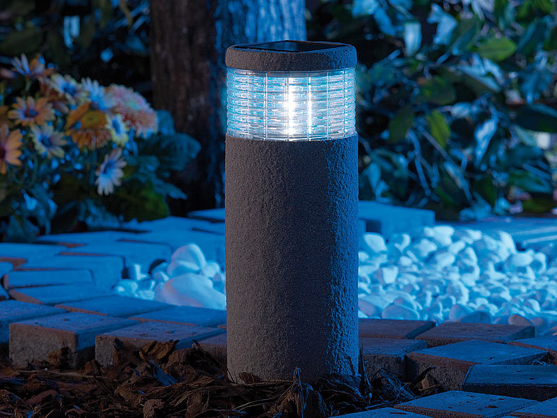 lunartec maxi solar led gartenleuchte grey stone 30 cm hoch. Black Bedroom Furniture Sets. Home Design Ideas