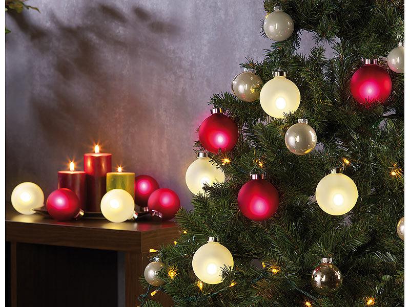 lunartec beleuchtete weihnachtsbaum kugeln aus glas mit fernbed 6 st ck wei. Black Bedroom Furniture Sets. Home Design Ideas