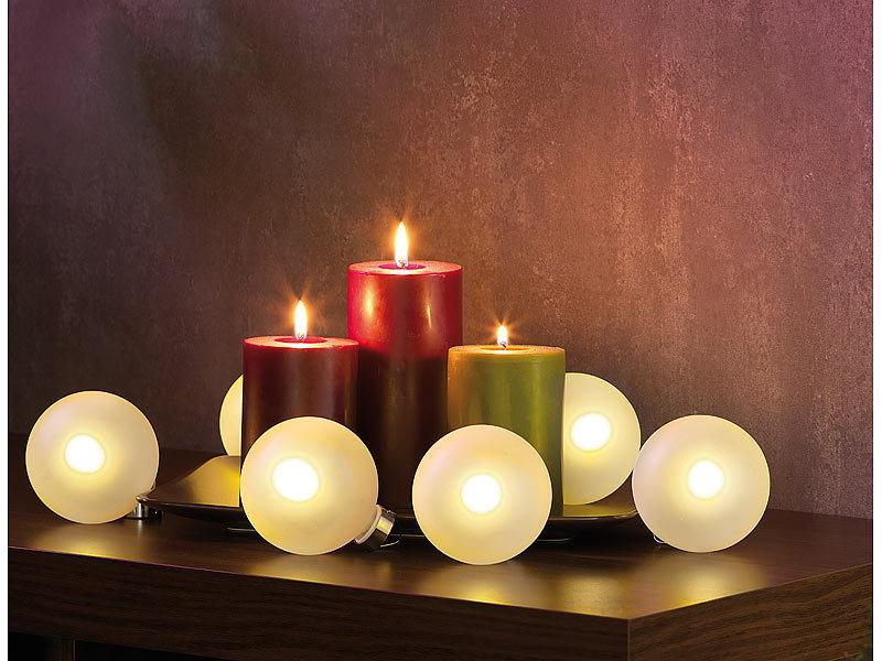 lunartec beleuchtete weihnachtsbaum kugeln aus glas mit. Black Bedroom Furniture Sets. Home Design Ideas