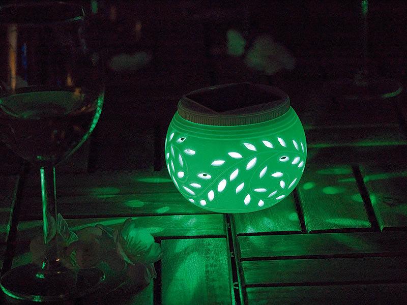 pearl 2 led solar dekoleuchten mit farbwechsel wei em licht. Black Bedroom Furniture Sets. Home Design Ideas