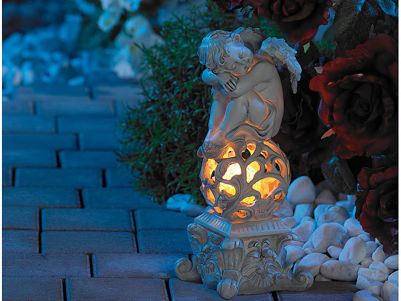lunartec gartendekoration quottraumender engelquot mit solar led With französischer balkon mit solar engel garten