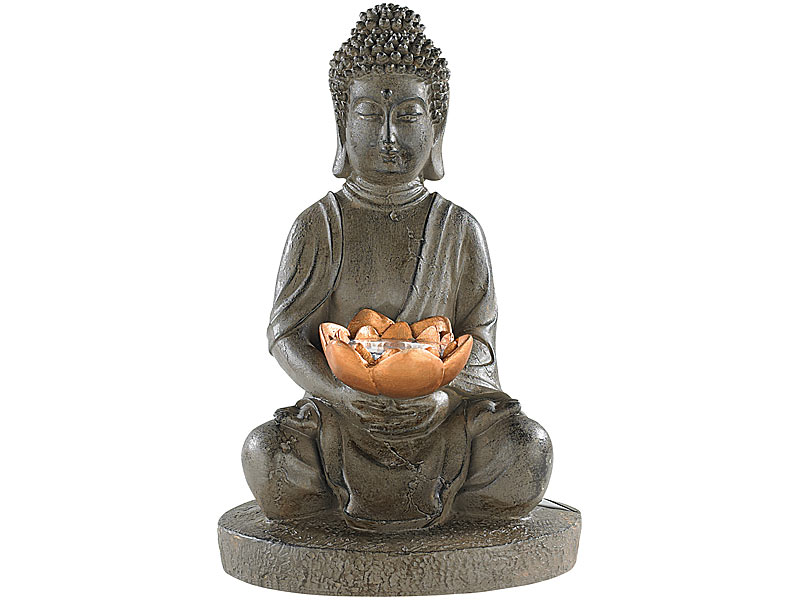 lunartec buddha figur solar led deko lampe buddha f r garten terrasse 28 cm solar budda. Black Bedroom Furniture Sets. Home Design Ideas