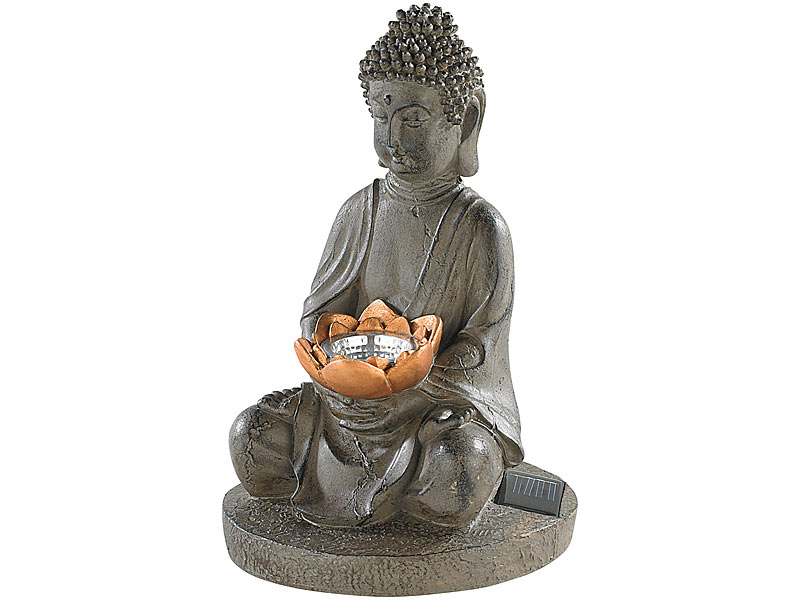 lunartec buddha figur solar led deko lampe buddha f r garten terrasse 28 cm solar budda. Black Bedroom Furniture Sets. Home Design Ideas