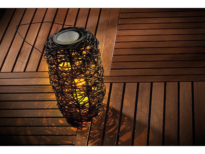 lunartec polyrattan laterne zylinderf rmige solar led. Black Bedroom Furniture Sets. Home Design Ideas