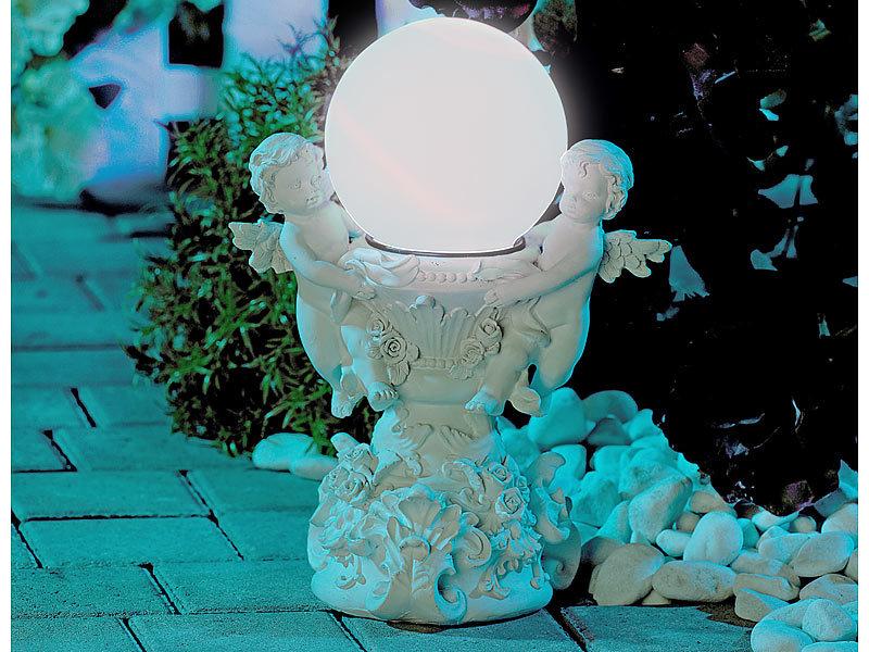 Lunartec engelsbrunnen mit solar led beleuchteter kugel for Beleuchtete gartenfiguren
