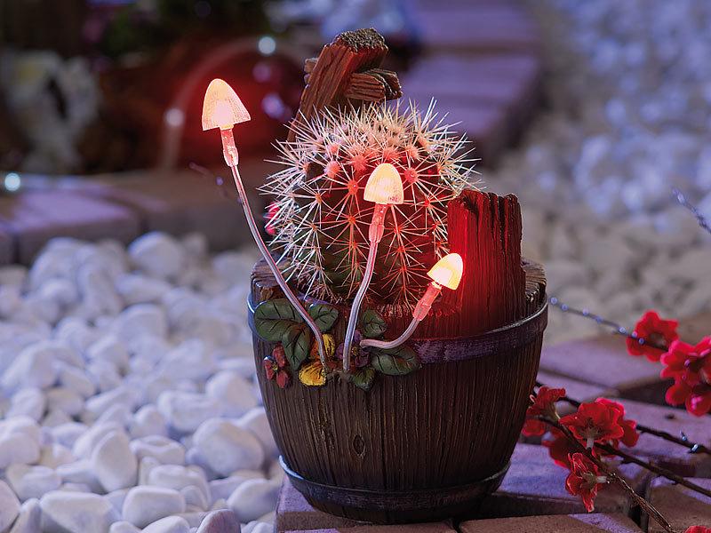 Lunartec solar licht dekoration holzfass f r einen for Blumentopf dekoration