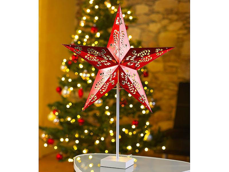 lunartec weihnachtsstern deko tischleuchte in sternform rot weihnachtsstern led. Black Bedroom Furniture Sets. Home Design Ideas