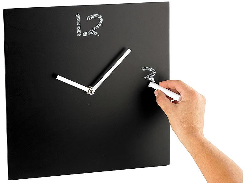 infactory tafel wanduhr blackboard mit quarz laufwerk. Black Bedroom Furniture Sets. Home Design Ideas