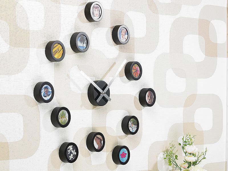 infactory wanduhr zum selbstgestalten mit zifferblatt aus 12 bildern. Black Bedroom Furniture Sets. Home Design Ideas