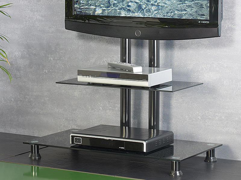 carlo milano elegante tv bank mit lcd tv halterung gd 3080 black. Black Bedroom Furniture Sets. Home Design Ideas