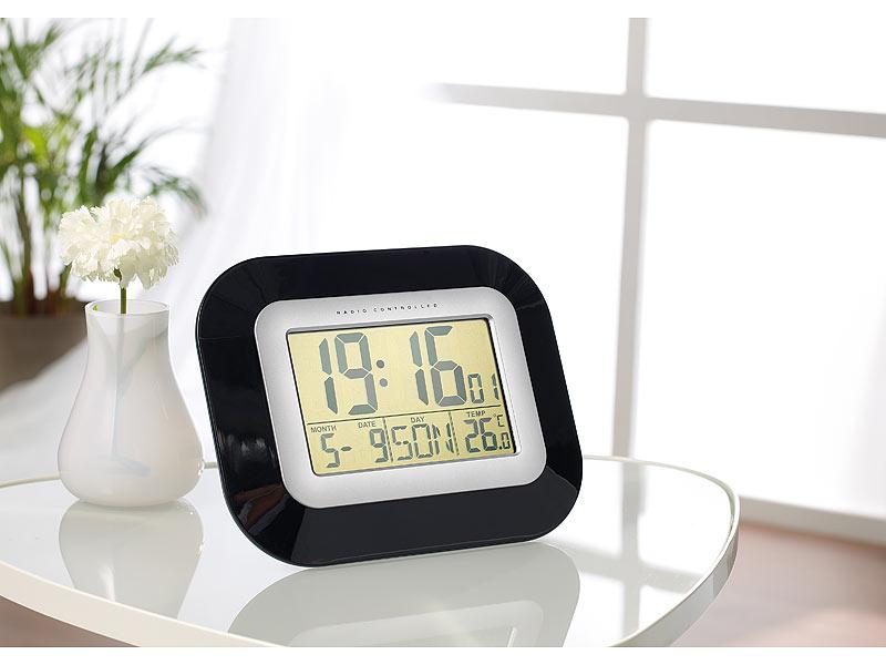 infactory tisch funkuhr digital wand tisch funkuhr mit weckfunktion temperatur und datums. Black Bedroom Furniture Sets. Home Design Ideas