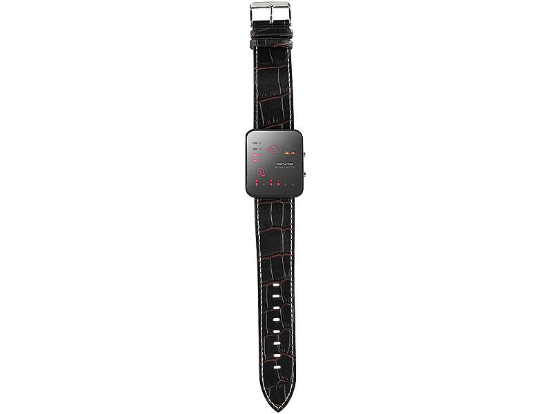 Futuristische Binär-Armbanduhr mit Lederarmband