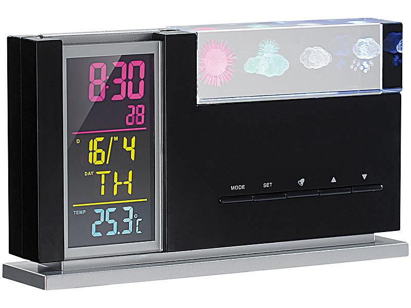 infactory eleganter wecker mit 3d hologramm wetterprognose. Black Bedroom Furniture Sets. Home Design Ideas