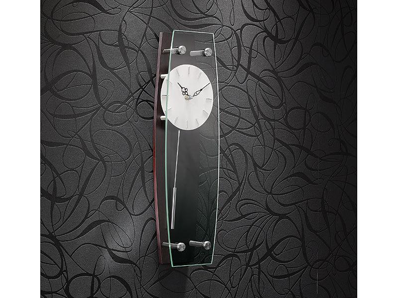 st leonhard elegante wandpendeluhr dunkle mahagoniholz optik. Black Bedroom Furniture Sets. Home Design Ideas