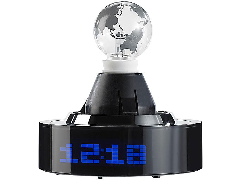 infactory nachttischlampe mit uhr designer tischlampe weltkarte integriertem wecker. Black Bedroom Furniture Sets. Home Design Ideas