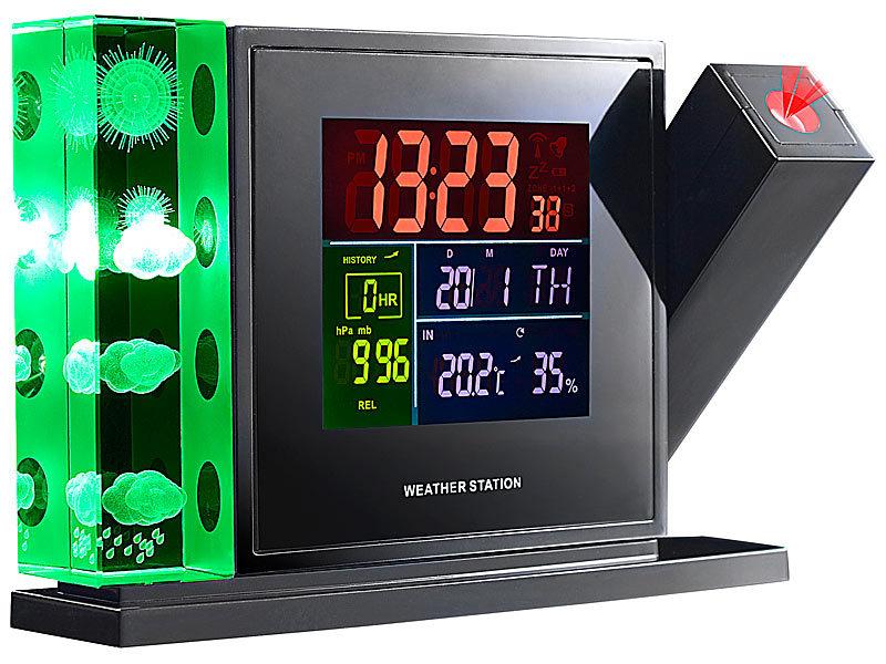 infactory 3d wetterstation mit hologramm projektion au ensensor. Black Bedroom Furniture Sets. Home Design Ideas