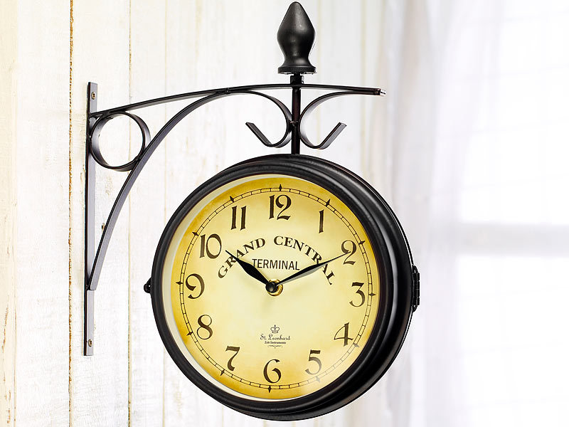 st leonhard bahnhofuhr doppelseitige bahnhofsuhr im retro design nostalgie bahnhofsuhr. Black Bedroom Furniture Sets. Home Design Ideas