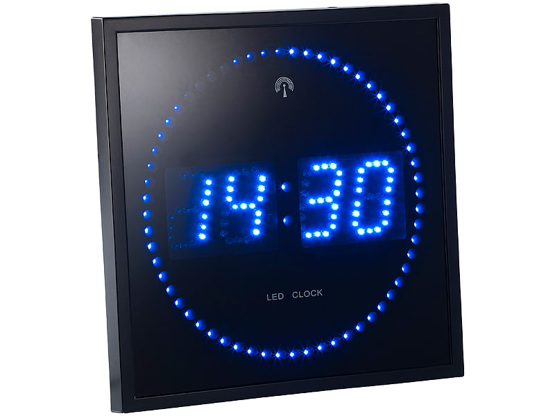 lunartec digitaluhr led funk wanduhr mit sekunden lauflicht durch blaue leds wand funkuhr digital. Black Bedroom Furniture Sets. Home Design Ideas