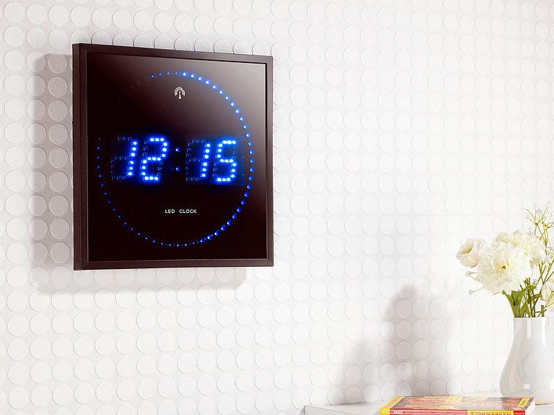 lunartec led funk wanduhr mit sekunden lauflicht durch blaue leds. Black Bedroom Furniture Sets. Home Design Ideas
