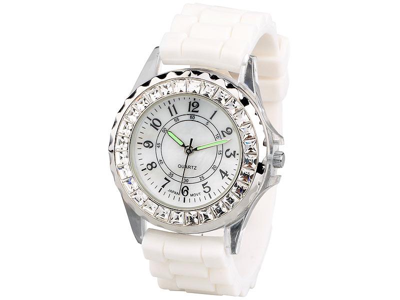 Sportliche Silikon-Quarz-Armbanduhr mit Strass, weiß