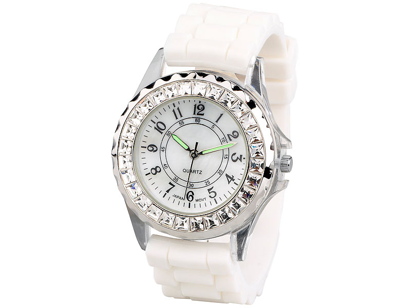 Crell Sportliche Silikon-Quarz-Armbanduhr mit Strass, weiß