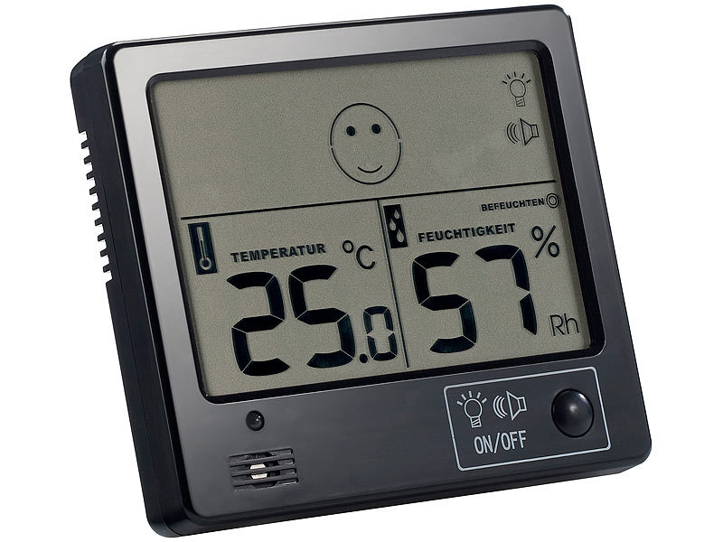 freetec raumklima thermometer mit hygrometer mit alarmfunktion. Black Bedroom Furniture Sets. Home Design Ideas
