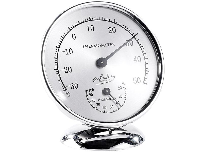 Analoges Thermometer mit Hygrometer, 10 cm