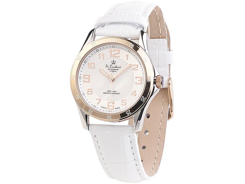 SWISS MADE Damen-Armbanduhr wasserdicht, roségold