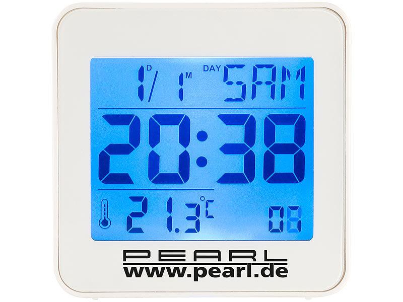 pearl reisefunkwecker kompakter digital funkwecker mit temperaturanzeige und kalender funk. Black Bedroom Furniture Sets. Home Design Ideas