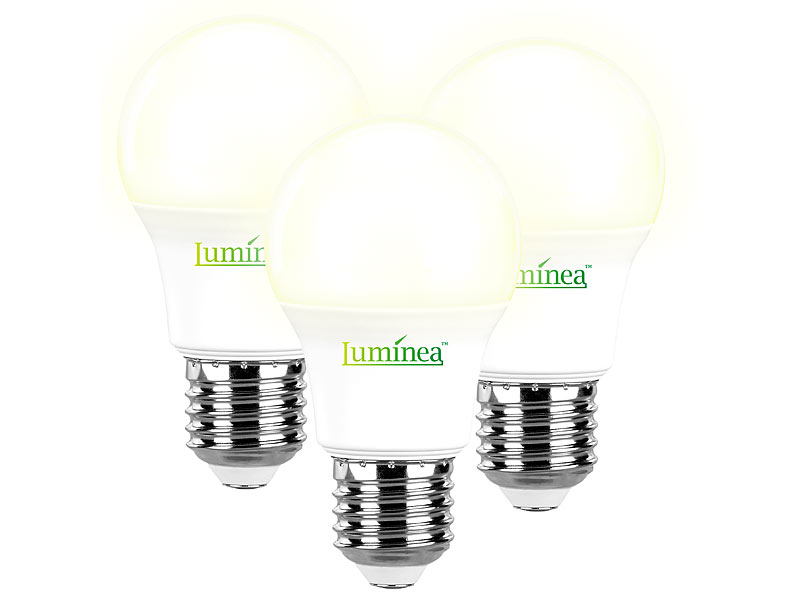 Luminea 3er Set LED Lampen, warmweiß, 806 Lumen, E27, 9 Watt