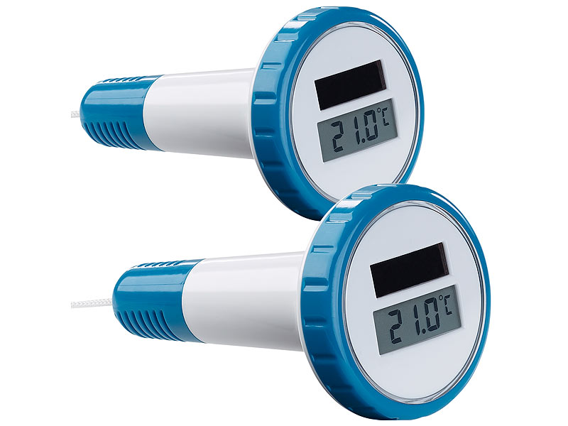 2er-Set digitale Solar-Teich- & Poolthermometer, LCD-Anzeige, IPX7
