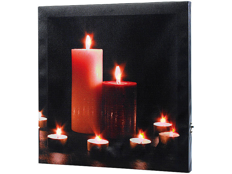 infactory led leinwandbild mit romantischem kerzenflackern modern times. Black Bedroom Furniture Sets. Home Design Ideas